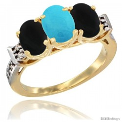 10K Yellow Gold Natural Turquoise & Black Onyx Sides Ring 3-Stone Oval 7x5 mm Diamond Accent
