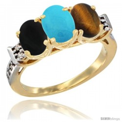 10K Yellow Gold Natural Black Onyx, Turquoise & Tiger Eye Ring 3-Stone Oval 7x5 mm Diamond Accent