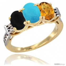 10K Yellow Gold Natural Black Onyx, Turquoise & Whisky Quartz Ring 3-Stone Oval 7x5 mm Diamond Accent
