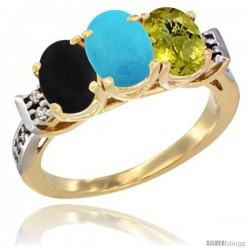 10K Yellow Gold Natural Black Onyx, Turquoise & Lemon Quartz Ring 3-Stone Oval 7x5 mm Diamond Accent