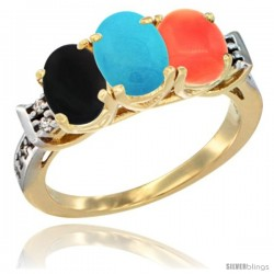 10K Yellow Gold Natural Black Onyx, Turquoise & Coral Ring 3-Stone Oval 7x5 mm Diamond Accent