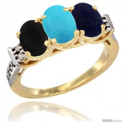 10K Yellow Gold Natural Black Onyx, Turquoise & Lapis Ring 3-Stone Oval 7x5 mm Diamond Accent