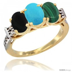 10K Yellow Gold Natural Black Onyx, Turquoise & Malachite Ring 3-Stone Oval 7x5 mm Diamond Accent