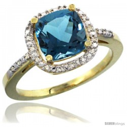 14k Yellow Gold Ladies Natural London Blue Topaz Ring Cushion-cut 3.8 ct. 8x8 Stone Diamond Accent