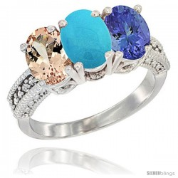10K White Gold Natural Morganite, Turquoise & Tanzanite Ring 3-Stone Oval 7x5 mm Diamond Accent