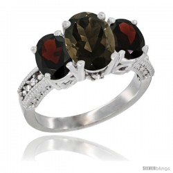 14K White Gold Ladies 3-Stone Oval Natural Smoky Topaz Ring with Garnet Sides Diamond Accent