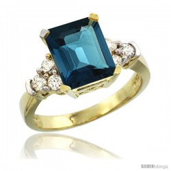 14k Yellow Gold Ladies Natural London Blue Topaz Ring Emerald-shape 9x7 Stone Diamond Accent