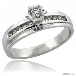 10k White Gold Diamond Engagement Ring w/ 0.20 Carat Brilliant Cut Diamonds, 3/16 in. (5mm) wide