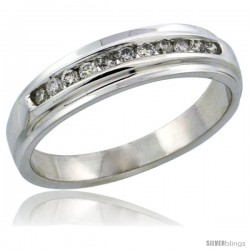 10k White Gold Ladies' Diamond Ring Band w/ 0.17 Carat Brilliant Cut Diamonds, 3/16 in. (5mm) wide