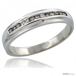 10k White Gold Men's Diamond Ring Band w/ 0.20 Carat Brilliant Cut Diamonds, 3/16 in. (5mm) wide