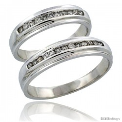 10k White Gold 2-Piece His (5mm) & Hers (5mm) Diamond Wedding Ring Band Set w/ 0.37 Carat Brilliant Cut Diamonds