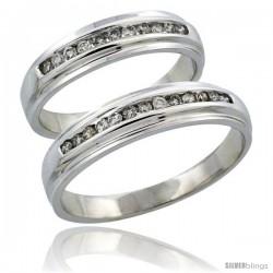 10k White Gold 2-Piece His (5mm) & Hers (5mm) Diamond Wedding Ring Band Set w/ 0.37 Carat Brilliant Cut Diamonds