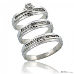 10k White Gold 3-Piece Trio His (5mm) & Hers (5mm) Diamond Wedding Ring Band Set w/ 0.57 Carat Brilliant Cut Diamonds