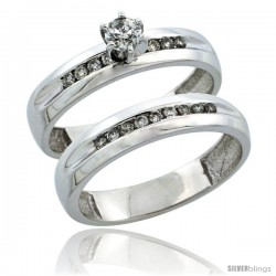 10k White Gold 2-Piece Diamond Engagement Ring Band Set w/ 0.37 Carat Brilliant Cut Diamonds, 5/32 in. (4mm) wide