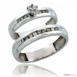 10k White Gold 2-Piece Diamond Ring Band Set w/ Rhodium Accent ( Engagement Ring & Man's Wedding Band ), w/ 0.42 Carat