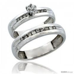 10k White Gold 2-Piece Diamond Ring Band Set w/ Rhodium Accent ( Engagement Ring & Man's Wedding Band ), w/ 0.42 Carat