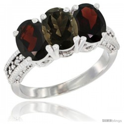 14K White Gold Natural Smoky Topaz & Garnet Sides Ring 3-Stone 7x5 mm Oval Diamond Accent
