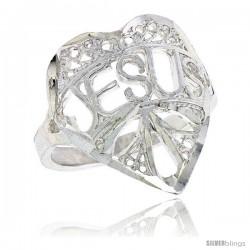 "Sterling Silver ""JESUS"" Filigree Heart Ring, 3/4 in"