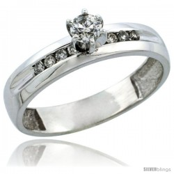 10k White Gold Diamond Engagement Ring w/ 0.26 Carat Brilliant Cut Diamonds, 5/32 in. (4mm) wide