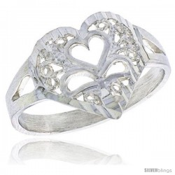 Sterling Silver Filigree Heart Ring, 1/2 in -Style Fr488