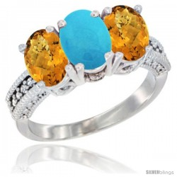 10K White Gold Natural Turquoise & Whisky Quartz Sides Ring 3-Stone Oval 7x5 mm Diamond Accent