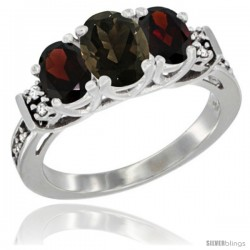 14K White Gold Natural Smoky Topaz & Garnet Ring 3-Stone Oval with Diamond Accent