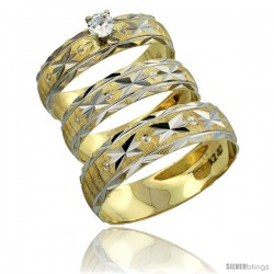 10k Gold 3-Piece Trio Diamond Wedding Ring Set Him & Her 0.10 ct Rhodium Accent Diamond-cut Pattern -Style 10y506w3