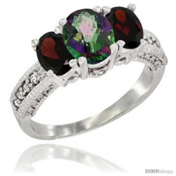14k White Gold Ladies Oval Natural Mystic Topaz 3-Stone Ring with Garnet Sides Diamond Accent