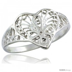 Sterling Silver Filigree Heart Ring, 1/2 in -Style Fr487