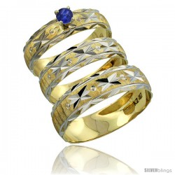 10k Gold 3-Piece Trio Blue Sapphire Wedding Ring Set Him & Her 0.10 ct Rhodium Accent Diamond-cut Pattern -Style 10y506w3