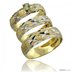 10k Gold 3-Piece Trio Green Sapphire Wedding Ring Set Him & Her 0.10 ct Rhodium Accent Diamond-cut Pattern -Style 10y506w3