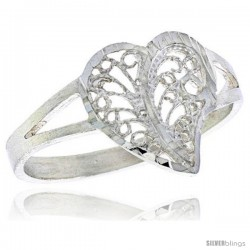 Sterling Silver Filigree Heart Ring, 1/2 in -Style Fr489