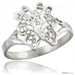 Sterling Silver Butterfly Filigree Ring, 1/2 in -Style Fr483
