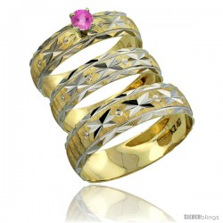 10k Gold 3-Piece Trio Pink Sapphire Wedding Ring Set Him & Her 0.10 ct Rhodium Accent Diamond-cut Pattern -Style 10y506w3