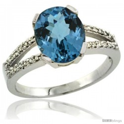 Sterling Silver Diamond Halo Natural London Blue Topaz Ring 2.4 carat Oval shape 10X8 mm, 3/8 in (10mm) wide