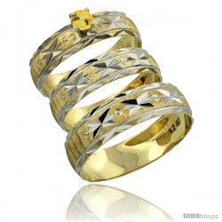 10k Gold 3-Piece Trio Yellow Sapphire Wedding Ring Set Him & Her 0.10 ct Rhodium Accent Diamond-cut Pattern -Style 10y506w3