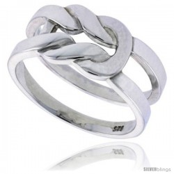 Sterling Silver Men's Love Knot Wedding Ring Flawless finish 3/8 in wide