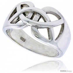 Sterling Silver Men's Celtic Knot cut-out Wedding Ring Flawless finish 1/2 in wide