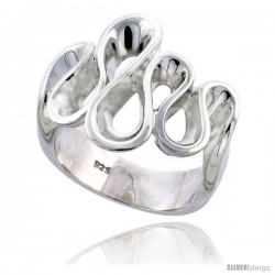Sterling Silver S Waves Ring Flawless finish 3/4 in wide