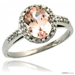 14k White Gold Diamond Morganite Ring Oval Stone 8x6 mm 1.17 ct 3/8 in wide