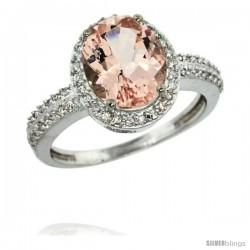 14k White Gold Diamond Morganite Ring Oval Stone 10x8 mm 2.4 ct 1/2 in wide