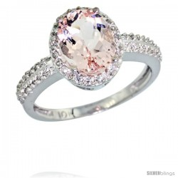 14k White Gold Diamond Morganite Ring Oval Stone 9x7 mm 1.76 ct 1/2 in wide