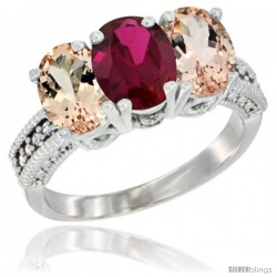 14K White Gold Natural Ruby & Morganite Sides Ring 3-Stone Oval 7x5 mm Diamond Accent