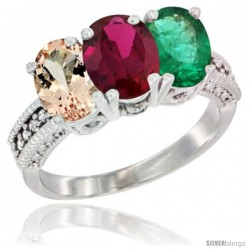 14K White Gold Natural Morganite, Ruby & Emerald Ring 3-Stone Oval 7x5 mm Diamond Accent