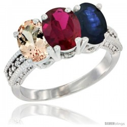 14K White Gold Natural Morganite, Ruby & Blue Sapphire Ring 3-Stone Oval 7x5 mm Diamond Accent