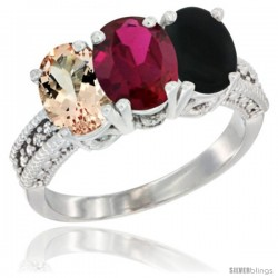 14K White Gold Natural Morganite, Ruby & Black Onyx Ring 3-Stone Oval 7x5 mm Diamond Accent