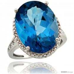 Sterling Silver Diamond Natural London Blue Topaz Ring 13.56 Carat Oval Shape 18x13 mm, 3/4 in (20mm) wide