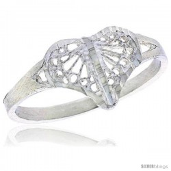 Sterling Silver Filigree Heart Ring, 3/8 in