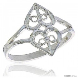 Sterling Silver Double Heart Cut-out Filigree Ring, 1/2 in