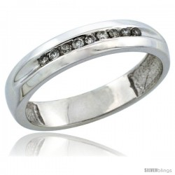 10k White Gold Ladies' Diamond Ring Band w/ 0.11 Carat Brilliant Cut Diamonds, 5/32 in. (4mm) wide